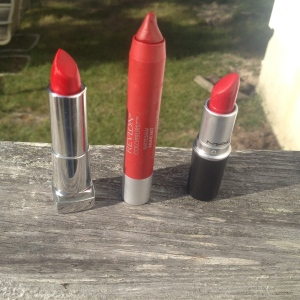Photo taken by me Lipsticks: Siren in Scarlet Maybelline, Standout Revlon, Ruby Woo Mac