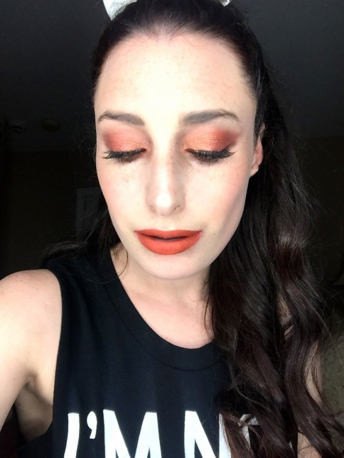full orange eye look